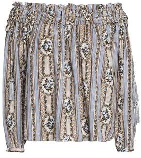 Needle & Thread Woman Off-the-shoulder Floral-print Cotton Fil Coupé Blouse Light Blue Size 14 Needle & Thread Very Cheap Cheap Online 81QGO8uWcY