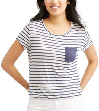 Self Esteem Juniors' Printed Contrast Pocket Tee w/ Cinced Waist