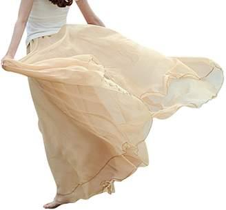 Aivtalk Women Bohemian Skirt Silk Chiffon Flowing Long Skirts Retro Crinkle Skirts Dress