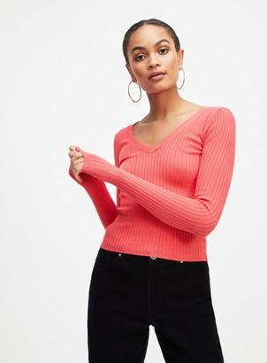 Miss Selfridge Red Crop Tie Back Knitted Top