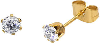 JCPenney FINE JEWELRY Cubic Zirconia 4mm Stainless Steel and Yellow IP Stud Earrings