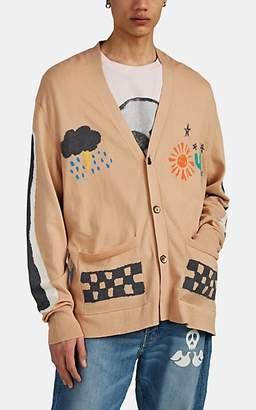 BEIGE LOST DAZE Men's Desert-Intarsia Cotton-Cashmere Cardigan - Beige, Tan