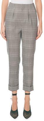 Roland Mouret Horley Slim-Leg Checkered Crop Pants