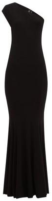 Norma Kamali One Shoulder Stretch Jersey Maxi Dress - Womens - Black