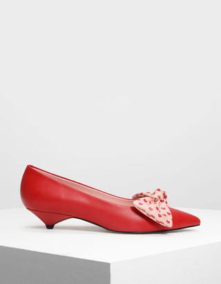 a987c1b1916 Charles   Keith Printed Bow Kitten Heels