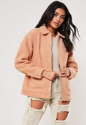 Missguided Petite Pink Teddy Coat