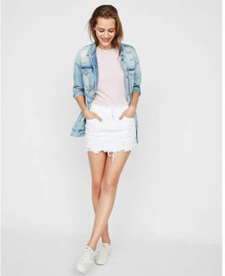 Express distressed denim mini skirt
