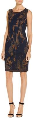 St. John Leafed Copper Jacquard Knit Dress