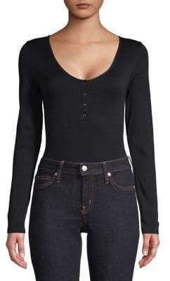 Bassike Long Sleeve Henley Bodysuit