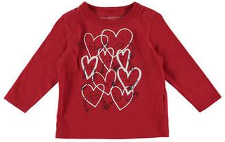 Stella McCartney Smiling Hearts Cartoon Long-Sleeve Tee, Size 12-36 Months