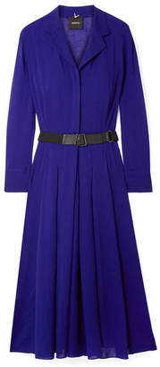 Akris Belted Wool-voile Midi Dress - Indigo