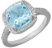 Lord & Taylor 14 Kt. White Gold and Topaz Ring