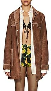 Marc Jacobs Women's Topstitched Suede Coat - Beige, Tan