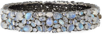 Bavna Multi-Size Rainbow Moonstone & Diamond Bangle
