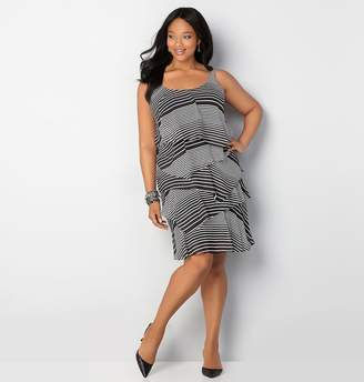 Avenue Striped Chiffon Tiered Dress