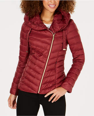 Laundry by Shelli Segal Asymmetrical Hooded Puffer Coat