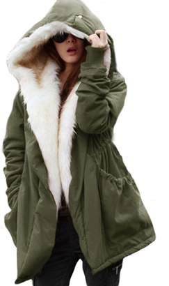 LIN&LV Women Fashion Military Winter Casual Outdoor Coat Hoodie Jacket Long Trench Parkas