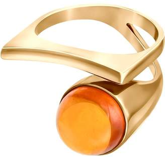 Leta Modernism Art Nouveau Gold Plated Ring Made of Silver with Cognac Amber