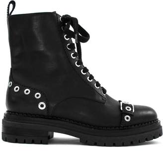Sergio Rossi Black Leather Lace-up Boots.