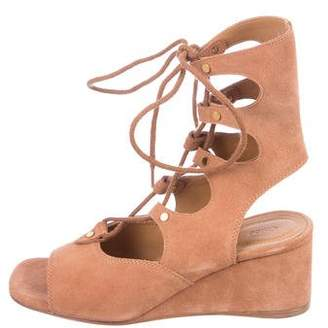 Chloé Suede Lace-Up Wedge Sandals