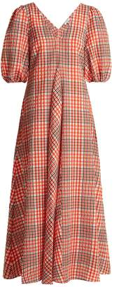 Ganni Charron puff-sleeve gingham dress