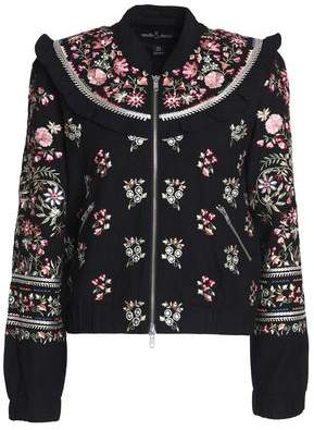 Needle & Thread Ruffle-Trimmed Embroidered Cotton Bomber Jacket