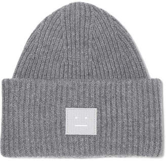 Acne Studios Pansy Appliquéd Ribbed Wool Beanie - Gray