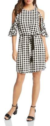 Karen Kane Gingham Ruffled Cold-Shoulder Dress