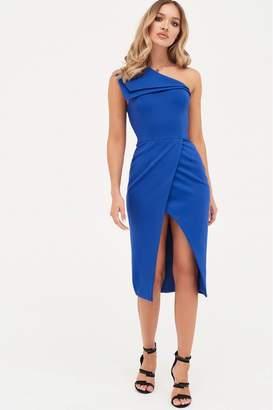 Lavish Alice Womens Double Layer One Shoulder Wrap Midi Dress - Blue
