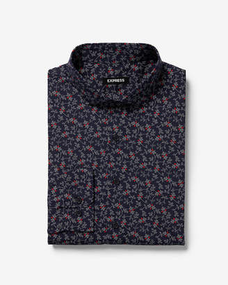 Express Slim Floral Dot Print Dress Shirt