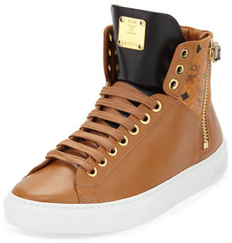 MCM Collection Leather High-Top Sneaker $495 thestylecure.com