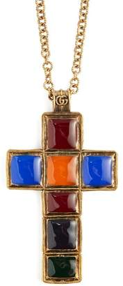 Gucci Jewel Cross Pendant Necklace - Womens - Multi