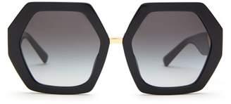 Valentino Oversized Hexagonal Acetate Sunglasses - Womens - Black