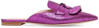 Alberta Ferretti 10mm Mia Crackled Metallic Leather Mules