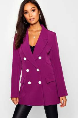 boohoo Woven Double Breasted Button Detail Blazer