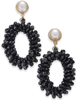 "INC International Concepts I.n.c. Extra Large 3"" Gold-Tone Bead & Imitation Pearl Drop Hoop Earrings"
