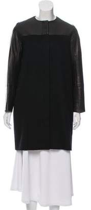 The Row Leather-Trimmed Cashmere Coat
