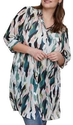 Junarose Plus Kirpa Quarter-Sleeve Long Button-Down Shirt