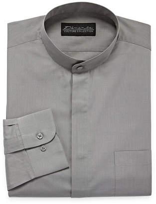 DAMANTE Damante Banded Collar Mens Banded Collar Long Sleeve Dress Shirt