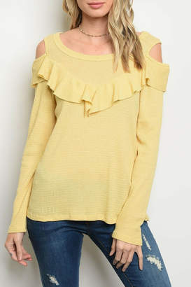 Sweet Claire Yellow Ruffle Top