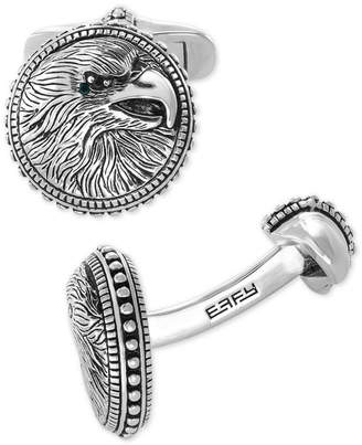 Effy Men Black Spinel Eagle Cuff Links in Sterling Silver