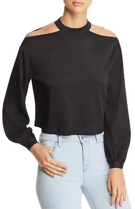 Marled Shoulder-Cutout Cropped Blouse