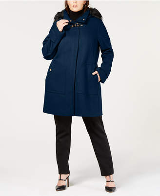 Cole Haan Plus Size Faux Fur Hooded Wool Toggle Coat