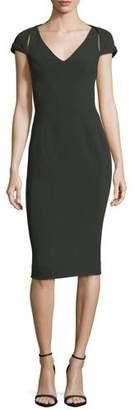 Zac Posen V-Neck Cap-Sleeve Bonded Crepe Sheath Cocktail Dress