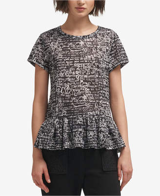 DKNY Printed Peplum T-Shirt