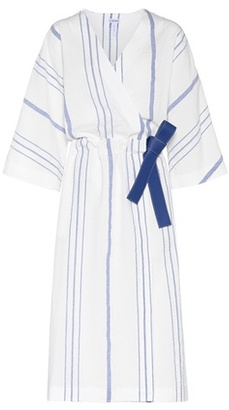 White and blue cotton and linen wrap dress