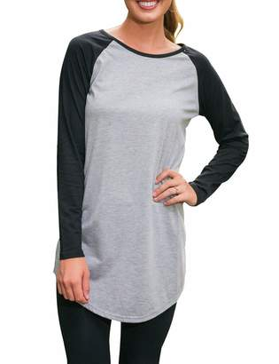 Sexyshine Women's Soft Long Raglan Sleeve Round Neck Tee Shirt Casual Tunics Tops(Gy,M)