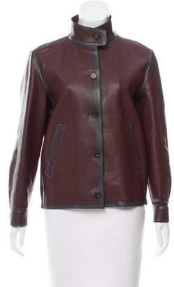 Prada Mock Neck Leather Jacket