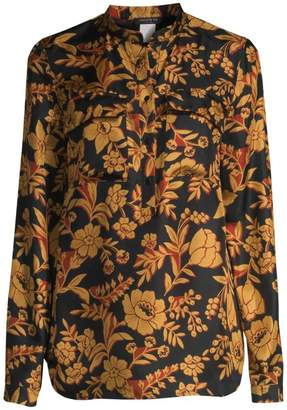 Lafayette 148 New York Russell Floral Silk Blouse