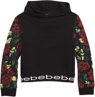 Bebe Floral Print Fleece Hoodie